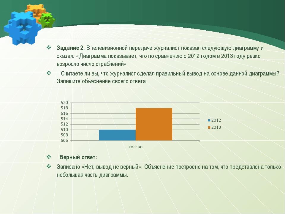 Задание 2. В телевизионной передаче журналист показал следующую диаграмму и с...