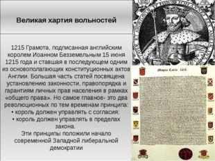 Великая хартия вольностей 1215 Грамота, подписанная английским королем Иоанно
