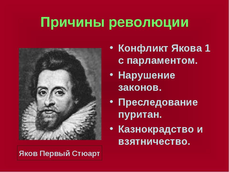 Причины революции Конфликт Якова 1 с парламентом. Нарушение законов. Преследо...