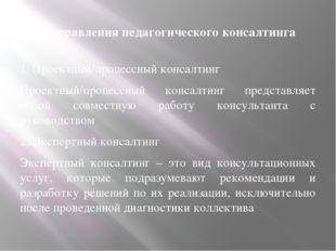 Направления педагогического консалтинга 1. Проектный/процессный консалтинг Пр