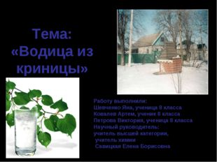 Тема: «Водица из криницы» Работу выполнили: Шевченко Яна, ученица 8 класса Ко
