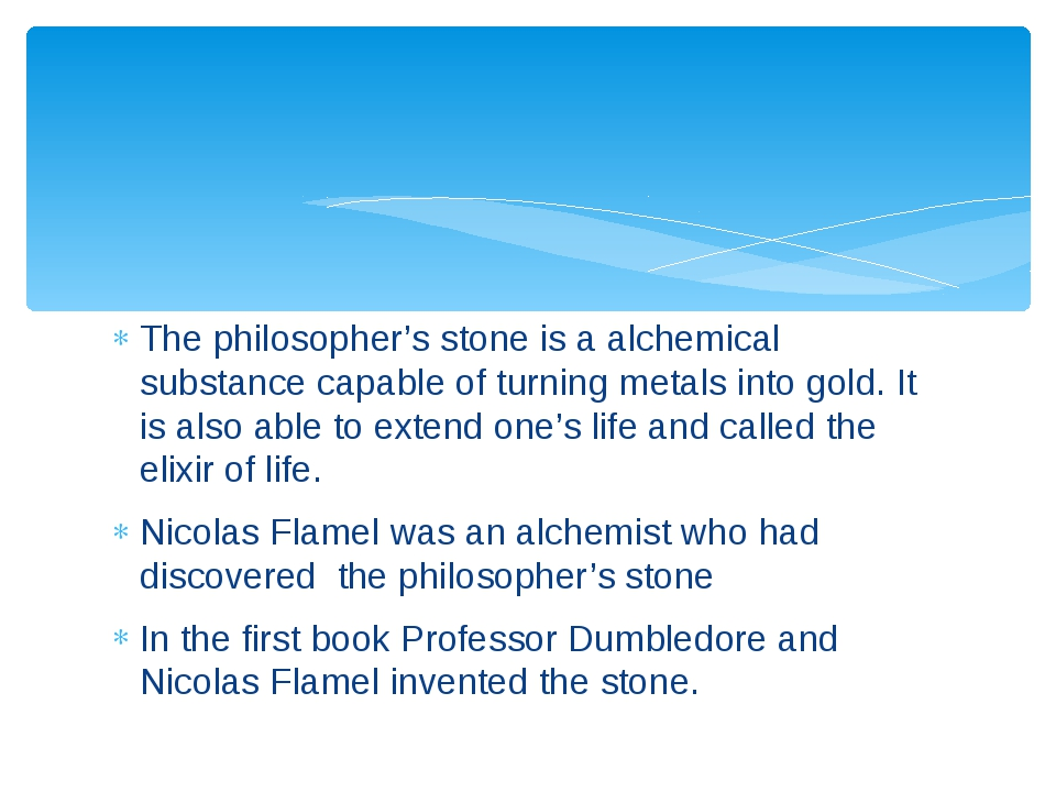 The philosopher's stone is a alchemical substance capable of turning metals i...