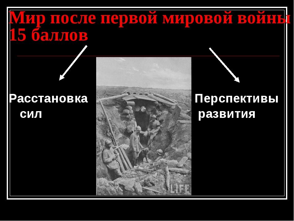Мир после первой мировой войны 15 баллов Расстановка Перспективы сил...