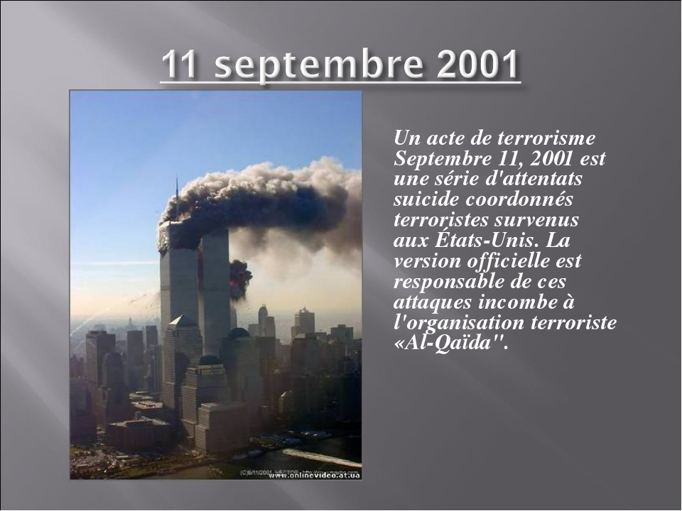 Un acte de terrorisme Septembre 11, 2001 est une série d'attentats suicide c...