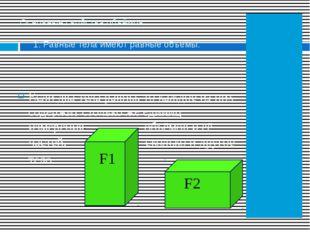 Основные свойства объёмов: 1. Равные тела имеют равные объёмы. Если два тела