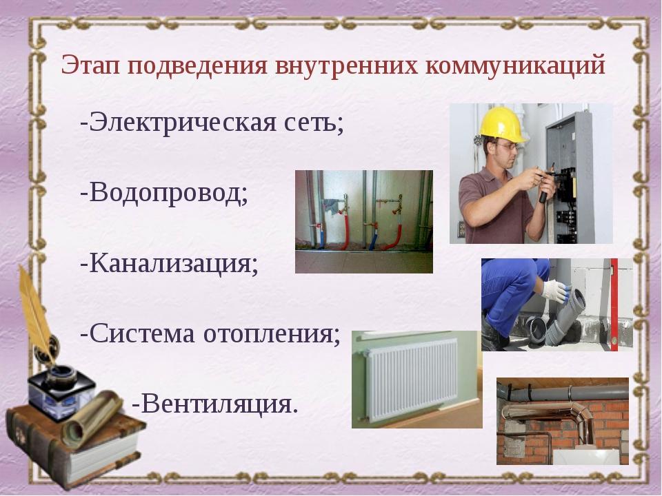 Этап подведения внутренних коммуникаций -Электрическая сеть; -Водопровод; -Ка...