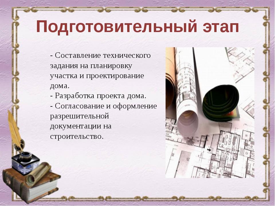 Подготовительный этап - Составление технического задания на планировку участк...