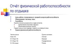 Отчёт физической работоспособности по отдышке Цель работы: познакомиться с фо