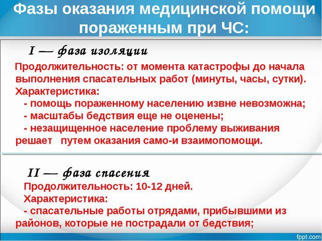 Фазы оказания медицинской помощи пораженным при ЧС:  I — фаза изоляции Продо...
