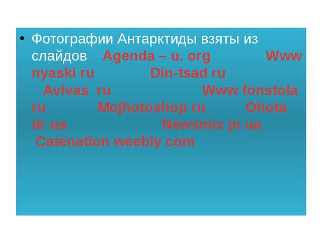 Фотографии Антарктиды взяты из слайдов Agenda – u. org Www nyaski ru Din-tsa...