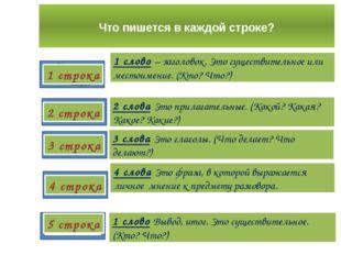 Что пишется в каждой строке? 1 строка 2 строка 4 строка 3 строка 5 строка 1