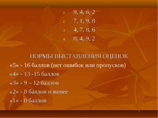 9, 4, 6, 2 7, 1, 9, 8 4, 7, 8, 6 8, 4, 9, 2 НОРМЫ ВЫСТАВЛЕНИЯ ОЦЕНОК «5» - 16