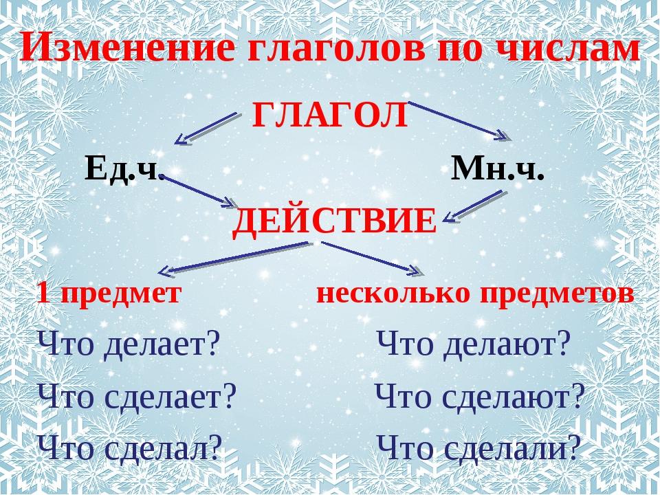 Изменение глаголов по числам ГЛАГОЛ Ед.ч. Мн.ч.  ДЕЙСТВИЕ 1 предмет...