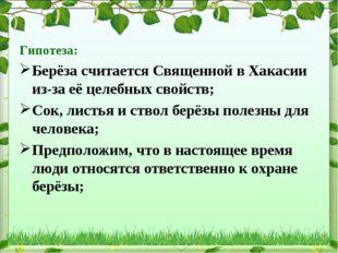 Гипотеза: Берёза считается Священной в Хакасии из-за её целебных свойств; Сок