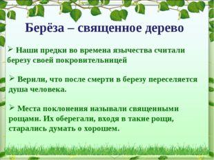 Берёза – священное дерево Верили, что после смерти в березу переселяется душа