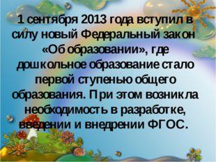 1 сентября 2013 года вступил в силу новый Федеральный закон «Об образовании»,