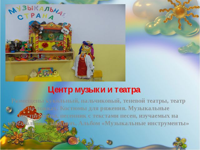 Центр музыки и театра Размещены кукольный, пальчиковый, теневой театры, театр...