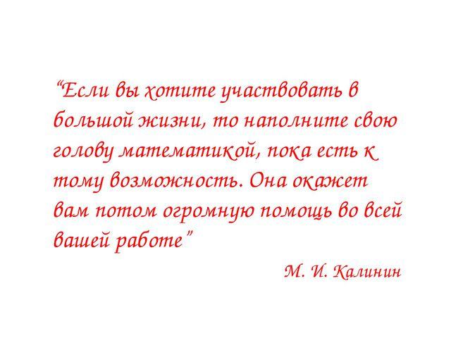 """""""Если вы хотите участвовать в большой жизни, то наполните свою голову матема..."""