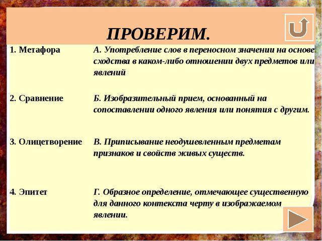 ПРОВЕРИМ. 1. Метафора А. Употребление слов в переносном значении на основе с...
