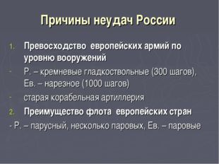 Причины неудач России Превосходство европейских армий по уровню вооружений Р.