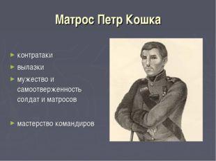 Матрос Петр Кошка контратаки вылазки мужество и самоотверженность солдат и ма