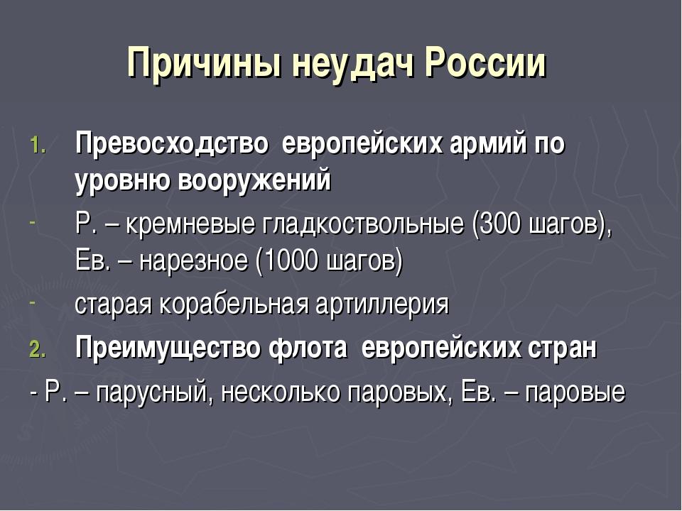 Причины неудач России Превосходство европейских армий по уровню вооружений Р....