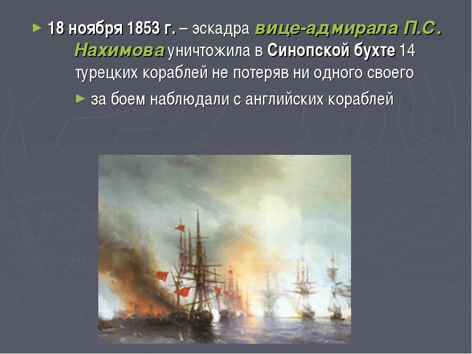 18 ноября 1853 г. – эскадра вице-адмирала П.С. Нахимова уничтожила в Синопско...