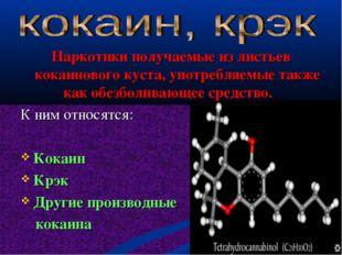 Наркотики получаемые из листьев кокаинового куста, употребляемые также как о