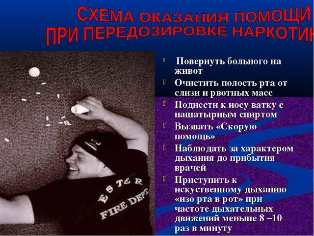 Повернуть больного на живот Очистить полость рта от слизи и рвотных масс Под...