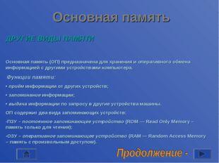 Основная память ДРУГИЕ ВИДЫ ПАМЯТИ Основная память (ОП) предназначена для хра