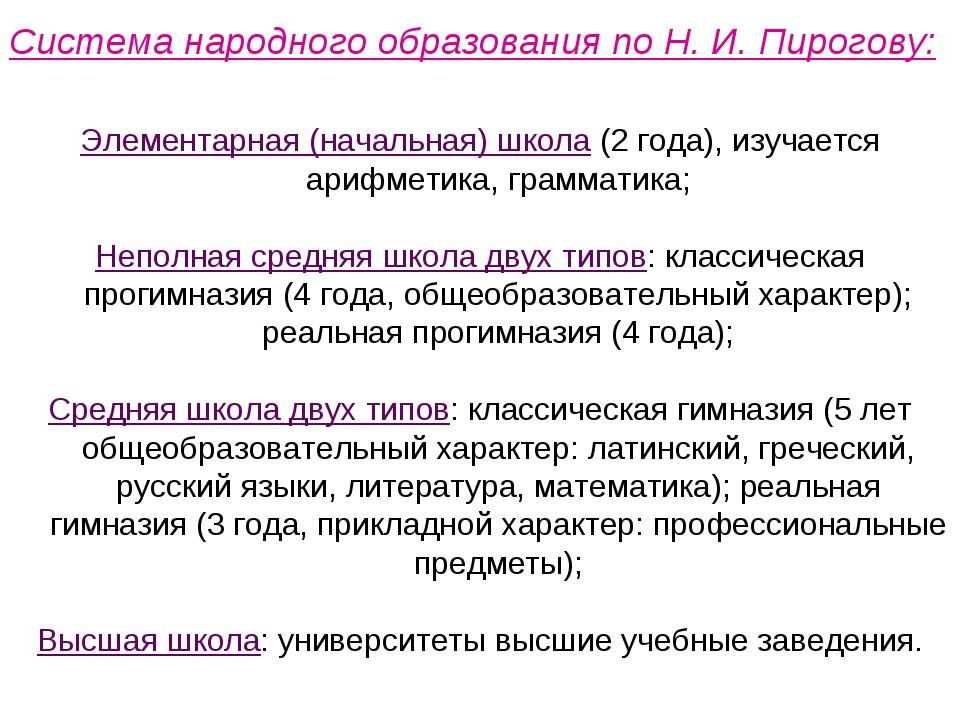 Система народного образования по Н.И.Пирогову: Элементарная (начальная) шко...