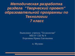 """Методическая разработка раздела """"Творческий проект"""" образовательной программы"""