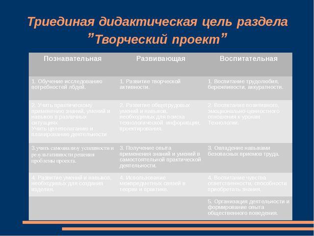 """Триединая дидактическая цель раздела """"Творческий проект"""" ПознавательнаяРазви..."""