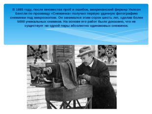 В 1885 году, после множества проб и ошибок, американский фермер Уилсон Бентли