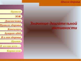 * Значение двигательной активности Школа здоровья Правила здоровья Консилиум
