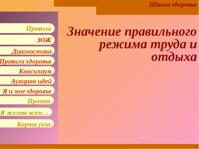 * Значение правильного режима труда и отдыха Школа здоровья Правила здоровья...