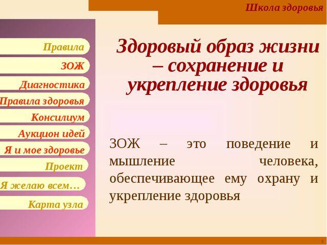 * Здоровый образ жизни – сохранение и укрепление здоровья ЗОЖ – это поведение...