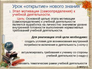 Урок «открытие» нового знания 1. Этап мотивации (самоопределения) к учебной д