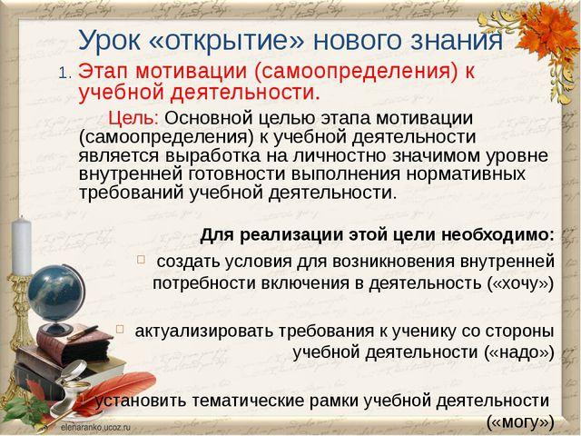 Урок «открытие» нового знания 1. Этап мотивации (самоопределения) к учебной д...