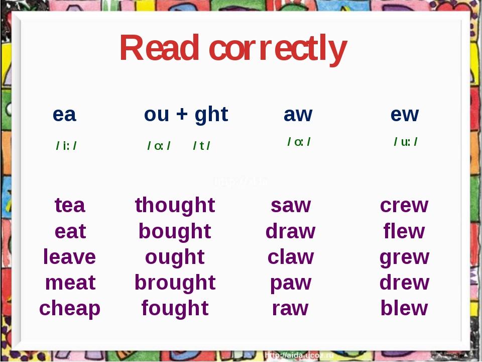 Read correctly ea ou + ght aw ew / i: / / o: / / t / / o: / / u: / tea eat l...