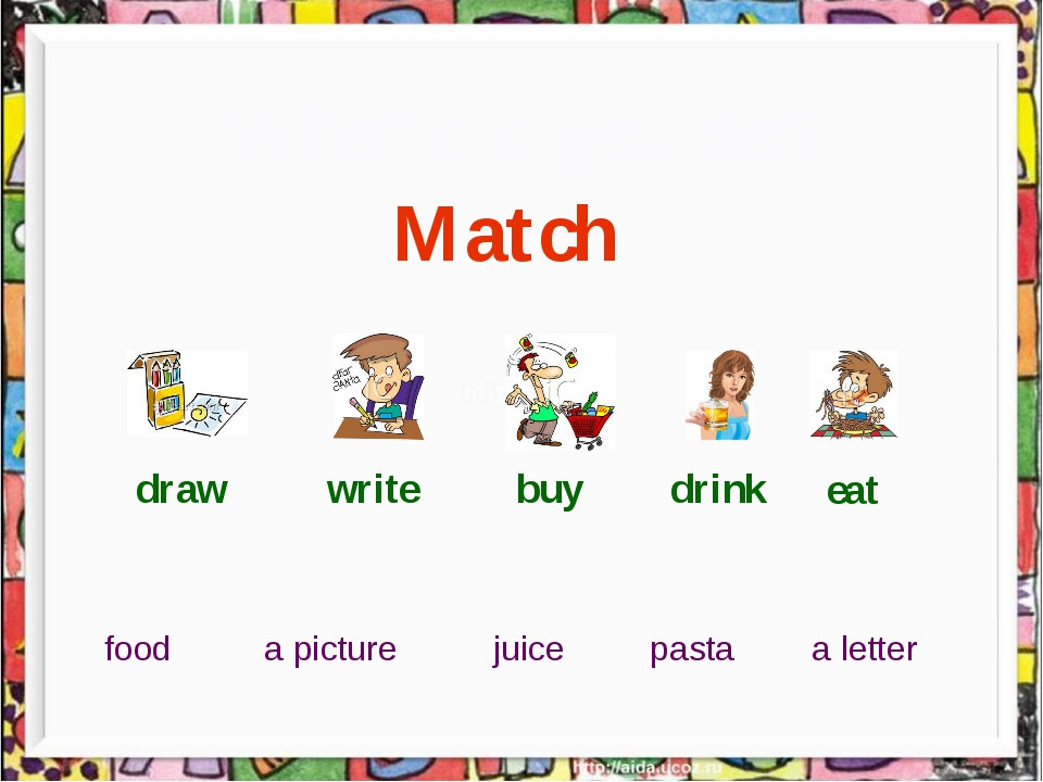 What did you do? Match draw write buy drink eat a picture a letter food juic...