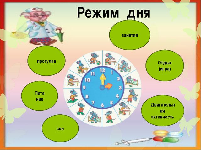 Режим дня сон Пита ние прогулка Двигательная активность Отдых (игра) занятия
