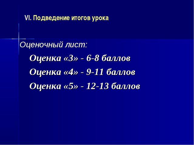 VI. Подведение итогов урока Оценочный лист: Оценка «3» - 6-8 баллов Оценка «4...