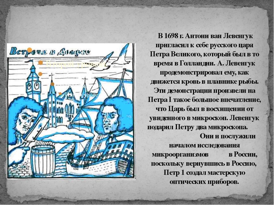 В 1698 г. Антони ван Левенгук пригласил к себе русского царя Петра Великого,...
