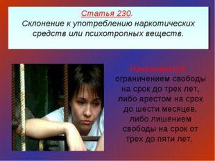 Статья 230. Склонение к употреблению наркотических средств или психотропных в