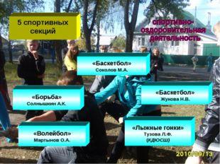 5 спортивных секций «Лыжные гонки» Тузова Л.Ф. (КДЮСШ) «Волейбол» Мартынов О.