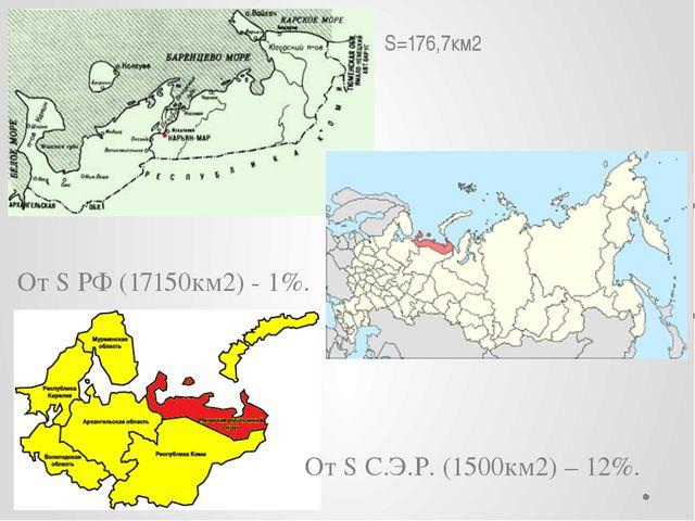 S=176,7км2 От S РФ (17150км2) - 1%. От S С.Э.Р. (1500км2) – 12%.