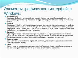Элементы графического интерфейса Windows: Рабочий стол. Название «Рабочий сто