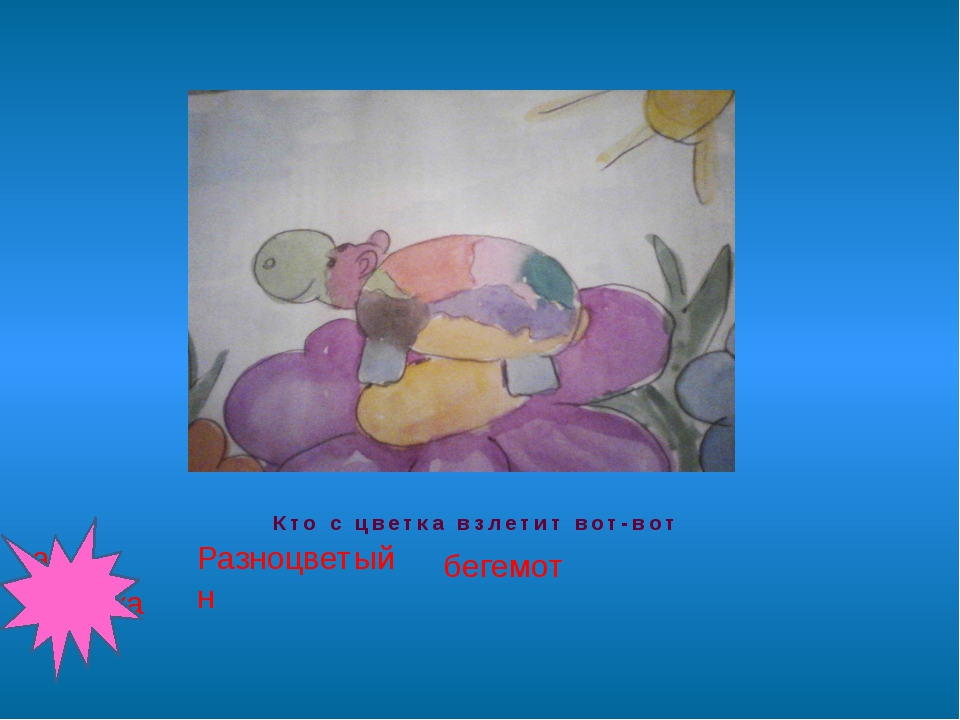 Кто с цветка взлетит вот-вот Разноцветн бегемот ый ая бабочка