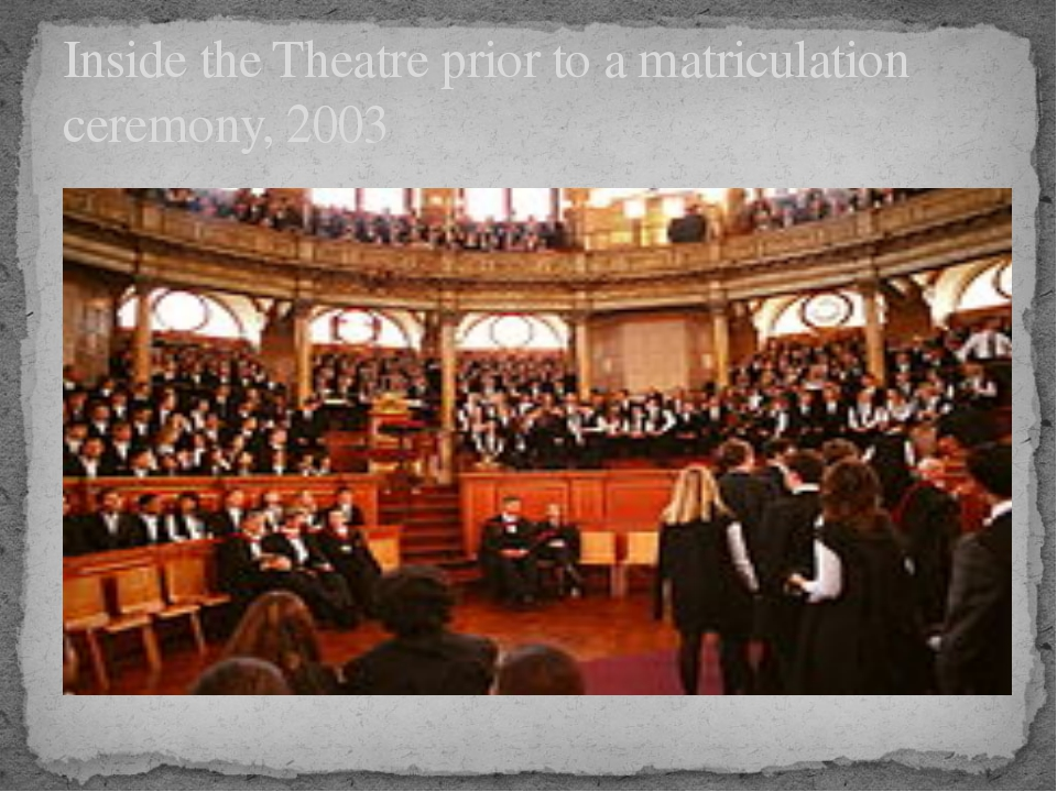 Inside the Theatre prior to a matriculation ceremony, 2003